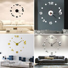 DIY 3D Wall Clock Roman Numerals Large Mirrors Surface Luxury Big Art Clock US