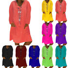 Womens Long Sleeve Tunic T-shirt Casual Loose Holiday Party Midi Dress Plus Size