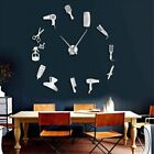Barber Shop Hair Tools Oversized DIY Wall Clock Frameless Hair Salon Big Time