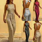 Womens Sequins Bling Sheer Bodycon Jumpsuit Romper Sleeveless Party Clubwear