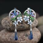 925 Silver Earrings Sets Dragonfly Pendant Necklace Enamel Flowers Ring Jewelry image