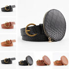 Women Ladies Round Buckle Belt Faux Leather Waistband With Mini Bag Decoration