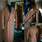 Camel Double Breasted Men's Long Overcoats with Belt Wool Blend Latest Tailored