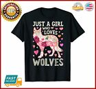 Just A Girl Who Loves Wolves Funny Wolf Silhouette Flower TShirt