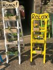 Shabby chic step ladder wooden plant boxes herb garden ornament plaque & sign