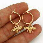 Fashion Gold Bee Moon Titanium Steel Silver Stud Earrings Party Charm Women Gift image