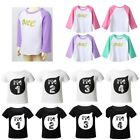 Toddlers Girls Birthday Party T-shirt Kids Long Sleeves Letter Printed Costumes