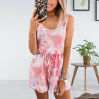 Womens Sleeveless O-neck Tie-dyed Jumpsuit Rompers Summer Beach Playsuit Shorts