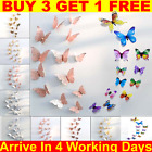 12 X 3d Butterfly Wall Stickers Mirrored Mirror Room Sticker Bedroom Girls