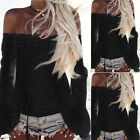 Women Sexy Off Shoulder Shirt Tops Long Sleeve Lace Loose Blouse Tops T-Shirts