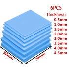 6PCS Thermal Conductive Silicone 30X30mm 0.5-5mm GPU CPU Heatsink Cooling Pad