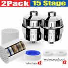 15 Stage Shower Head Filter & Cartridge for Hard Water Softener Removes Chlorine