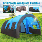 US 8-10 Person Blue/Camouflage Tent Outdoor Hiking Camping Shelter Waterproof