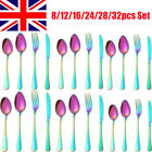 16/24/32pc Cutlery Set Iridescent Forks Spoon Knife Utensil Cafe Stainless Steel