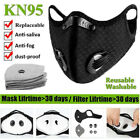 Washable Double Breathing Valve Face Mask Reusable With Activated Carbon Filters