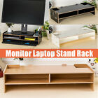 Wooden Computer Monitor Stand TV Laptop Holder Home Office Storage