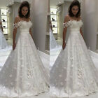 Wedding Dresses Off the Shoulder Satin Butterfly Applique White Ivory Custom New
