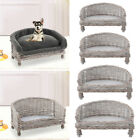 Shabby Chic Dog Cat Couch Elevated Pet Basket Sofa Bed Wicker Rattan Armchair UK