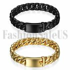Mens Polished Heavy Stainless Steel Curb Chain Black Bracelet Link Bangle Cuff
