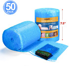 Fuxury Blue Anti-Static Bubble Pouches 7.5x7.5 Inch,2 Rolls 50 Packs Total