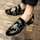 Fashion Mens Shoes Embroidered Pointed Toe Formal Dress Slip On Casual Loafers