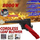 Cordless Leaf Blower w/ Battery Lawn Yard Leaves Suction Dust Sweeper Vacuum