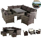 Indoor Outdoor 4/9 Seater Rattan Sofa Set Ottoman Garden Furniture Table Set Uk