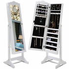 Giantex Lockable Armoire Mirrored Jewelry Cabinet Dressing Storage Box Organizer