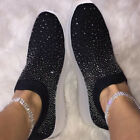 UK Women Ladies Sparkly Glitter Sneakers Casual Slip On Trainers Sock Shoes Size