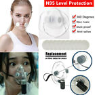 Transparent Face Masks Reusable Mouth Cover Filters Respirator W/ Filters Pad