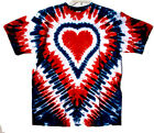 RED WHITE & BLUE HEART Hand-dyed Tie Dye T-shirt Size S M L XL 2X 3X 4X 5X