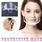 US Clear Face Mask Transparent Reusable Washable Catering Plastic Smile Shield