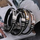 Adjustable Bracelets Stainless Steel Cuff Buckle Silicone Wrap Wristband For Men