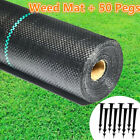 Extra Heavy Duty Weed Control Fabric Membrane Garden Ground Cover Mat +Free Pegs