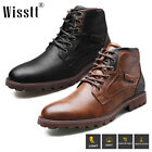 Men's Water Ankle Boots Leather Combat Lace Up Military Army Biker Shoes Bootie