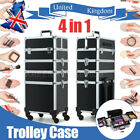 4 in 1 Makeup Trolley Cosmetics Storage Case Box Professional Beauty Case UK