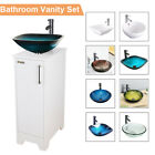 14 Inch White Bathroom Vanity Cabinet Set Vessel Glass Ceramic Sink Faucet Combo