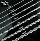 "Stainless Steel Rope Chain Silver 16""-30"" Men Women Necklace 2/3/4/5/7/9/10mm"
