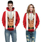 Couples Christmas Xmas 3D Muscle Print Funny Hooded Sweatshirts Jumper Pullover