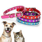 Small Pet Dog Cat Adjustable Leather Crystal Collar Buckle Neck Strap Necklace