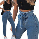 Women Jeans Lace Up Belted High Waist Skinny Slim Pants Jeggings Denim Trousers