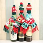 2pcs/set Scarf&Hat Knitted Red Wine Bottle Decoration Novelty Scarf Bear Tassel