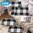 2/4X Black Buffalo Check Pillow Covers Plaid Farmhouse Home Decor Cushion Cover