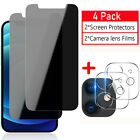 iPhone 11/12/Pro/Max 5G Anti-Spy Privacy Screen Protector,Camera Lens Protector