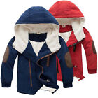 Kids Boys Winter Warm Fleece Coat Hooded Outwear Thick Top Casual Jacket Clothes