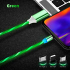 3 in 1 LED Flow Light Up Magnetic Fast Charger Cable For iPhone TypeC Micro-USB