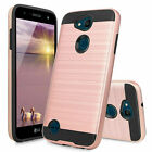 For LG X Charge/Fiesta 2 LTE/Power 2 3/ Brushed Armor Rubber Case+Tempered Glass