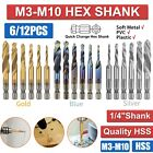 "6PCS 1/4"" HSS Hex Shank Titanium Plated Screw Thread Drill Bits Set M3 - M10 Tap"