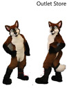Halloween Sexy Brown Mascot Costume Husky Fox Dog Cosplay Outfit Fursuit Xmas