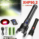 Tactical Super Bright XHP90.2 LED COB Flashlight USB Rechargeable Zoomable Torch